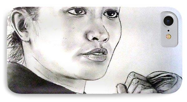 IPhone Case featuring the drawing Woman's Boxing Champion Filipino American Ana Julaton by Jim Fitzpatrick