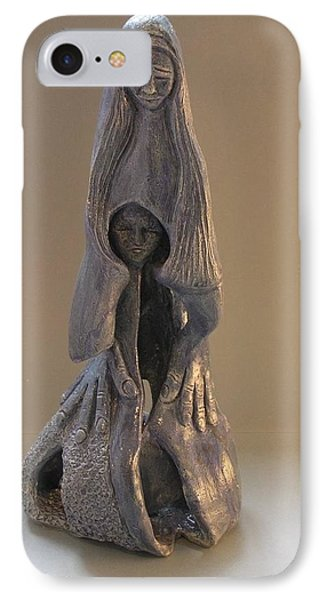 Womb Ceramics Sculpture  In Grey Woman And Child In Her Womb Large Hands Long Hair   Phone Case by Rachel Hershkovitz