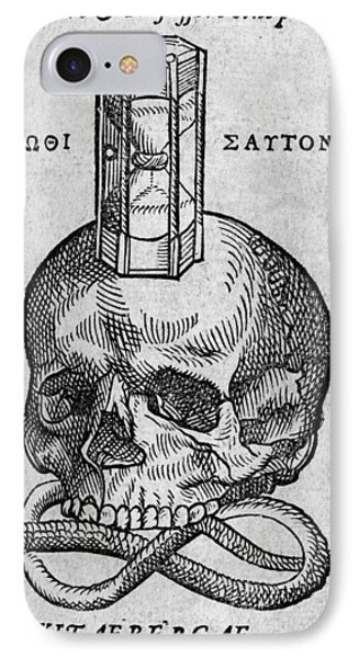 Woodcut Of Skull, Snake And Hourglass Phone Case by Middle Temple Library