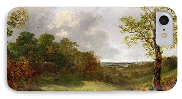 Wooded Landscape With A Cottage - Sheep And A Reclining Shepherd Phone Case by Thomas Gainsborough
