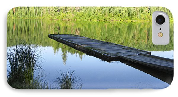 IPhone Case featuring the digital art Wooden Dock On Lake by Anne Mott