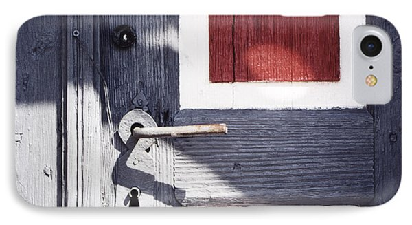 IPhone Case featuring the photograph Wooden Doors With Handle In Blue by Agnieszka Kubica