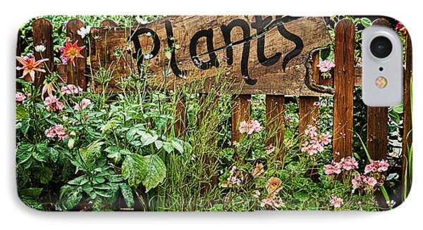 Garden iPhone 7 Case - Wooden Plant Sign In Flowers by Simon Bratt Photography LRPS