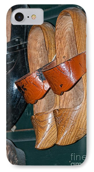 IPhone Case featuring the digital art Wooden Shoe Sandals by Carol Ailles