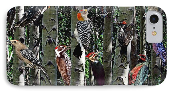 Woodpecker Collage IPhone Case by David Salter