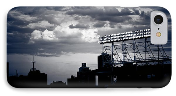 Wrigley Field Light Stand In Black And White IPhone Case by Anthony Doudt