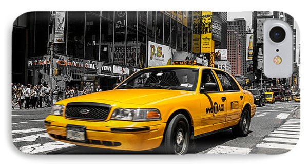 Yellow Cab At The  Times Square Phone Case by Hannes Cmarits
