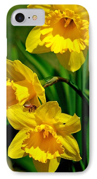 IPhone Case featuring the photograph Yellow Daffodils And Honeybee by Kay Novy