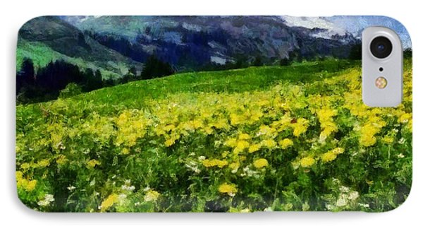 IPhone Case featuring the painting Yellow Fields Forever by Elizabeth Coats