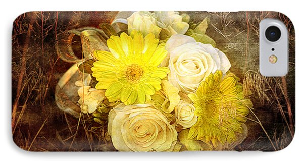 Yellow Gerbera Daisy And White Rose Bridal Bouquet In Nature Setting Phone Case by Cindy Singleton