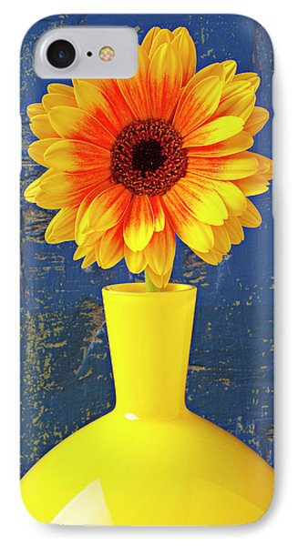 Yellow Mum In Yellow Vase Phone Case by Garry Gay