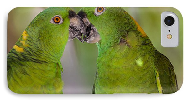 Yellow Naped Parrots Kissing Phone Case by Craig Lapsley