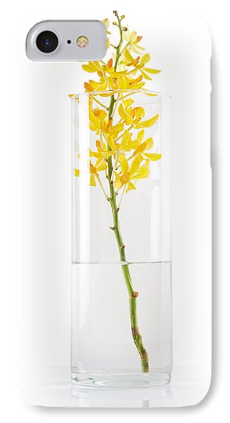 Yellow Orchid In Vase IPhone Case by Atiketta Sangasaeng