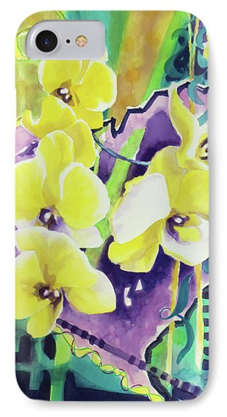 Yellow Orchids Of The Heart Phone Case by Kathy Braud