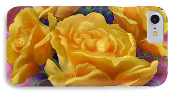 IPhone Case featuring the painting Yellow Roses Floral Art by Judy Filarecki