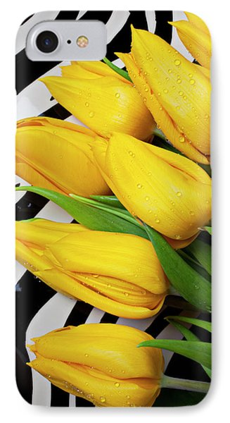 Yellow Tulips On Striped Plate Phone Case by Garry Gay