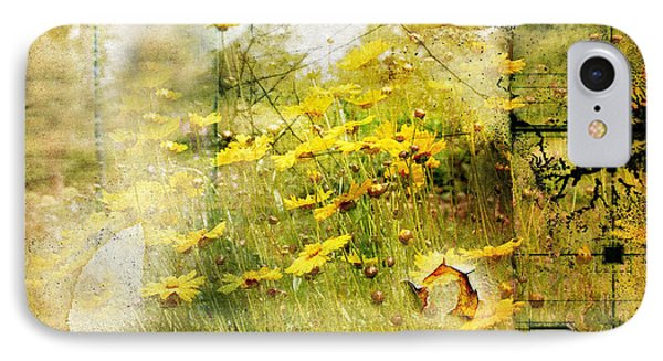 Yellow Wildflower Field Abstract IPhone Case by Elaine Manley