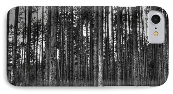 Yellowstone Trees Bw Phone Case by Bruce Friedman