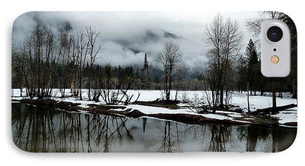 Yosemite River View In Snowy Winter Phone Case by Jeff Lowe