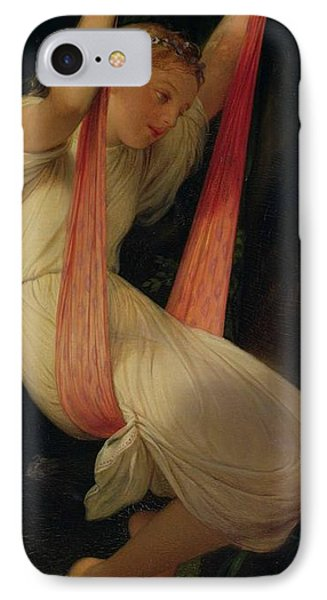 Young Girl On A Swing IPhone Case by Hippolyte Delaroche