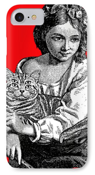 Young Girl With Cat IPhone Case