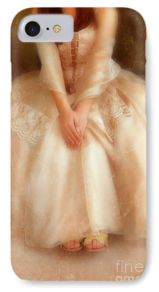 Young Lady Sitting In Satin Gown Phone Case by Jill Battaglia