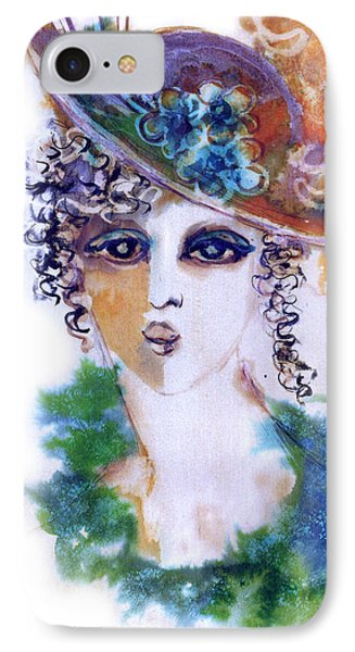 Young Woman Face With Curls In Blue Green Dress Purple Hat With Flower  IPhone Case by Rachel Hershkovitz