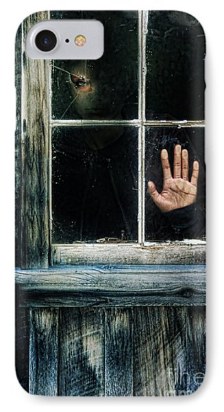 Young Woman Looking Through Hole In Window Phone Case by Jill Battaglia
