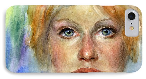Young Woman Watercolor Portrait Painting Phone Case by Svetlana Novikova