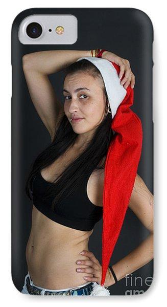 Young Woman Wearing Santa Hat Phone Case by Ilan Rosen