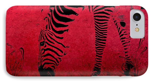 Zebra On Red Phone Case by Aimelle