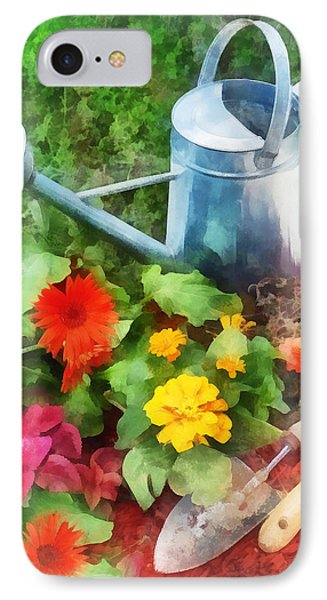 Zinnias And Watering Can Phone Case by Susan Savad