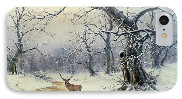 A Stag In A Wooded Landscape  IPhone Case by Nils Hans Christiansen