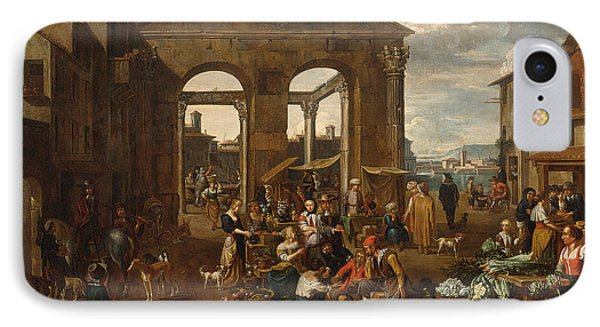 An Italianate Market Scene IPhone Case by Celestial Images