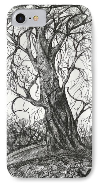 IPhone Case featuring the drawing  Autumn Dancing Tree by Anna  Duyunova
