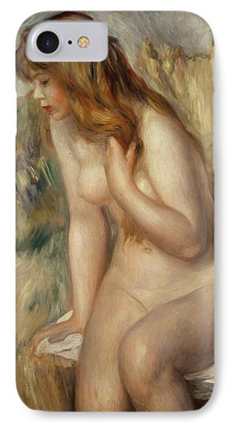 Bather Seated On A Rock IPhone Case by Pierre Auguste Renoir