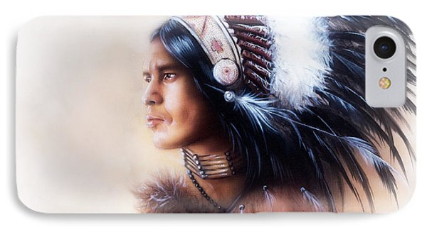 Beautiful Painting Of A Young Indian Warrior Wearing A Gorgeous Feather Headdress Profile Portrait IPhone Case