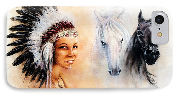 Beautiful  Painting Of A Young Indian Woman Wearing A Gorgeous Feather Headdress  IPhone Case by Jozef Klopacka