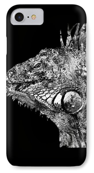 Black And White Iguana Art - One Cool Dude 2 - Sharon Cummings IPhone Case by Sharon Cummings
