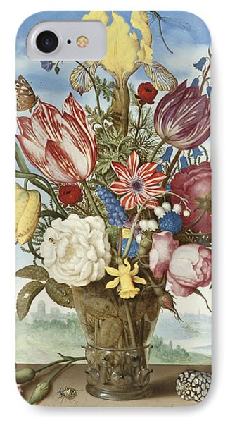 Bouquet Of Flowers On A Ledge IPhone Case by Ambrosius the Elder Bosschaert