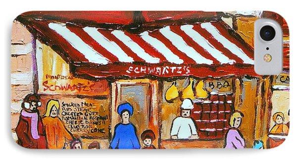 Chez Schwartz Deli Charcuterie  Vintage Montreal Winter Street Scene IPhone Case by Carole Spandau