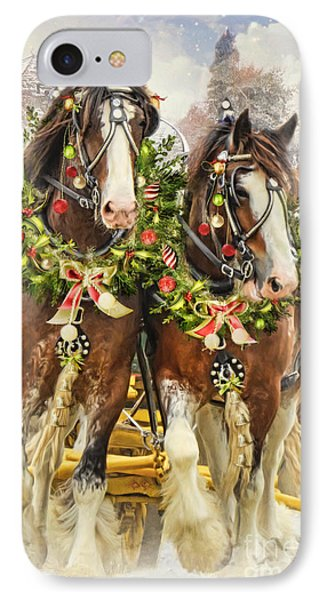 Christmas Clydesdales IPhone Case by Trudi Simmonds