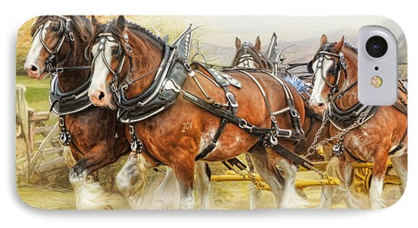 IPhone Case featuring the digital art  Clydesdales In Harness by Trudi Simmonds