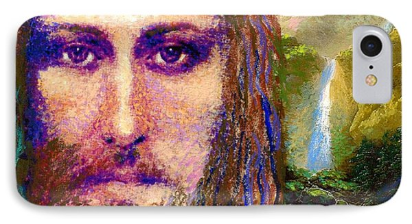 Jesus iPhone 7 Case -  Contemporary Jesus Painting, Chalice Of Life by Jane Small
