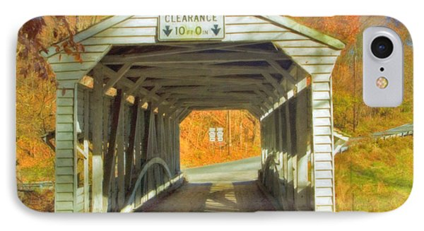 IPhone Case featuring the photograph  Covered Bridge Watercolor  by David Zanzinger
