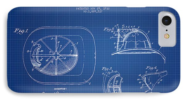 Firefighter Helmet Patent Drawing From 1932 - Blueprint IPhone Case by Aged Pixel