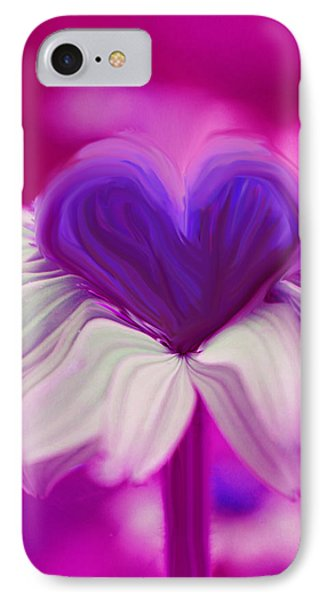 IPhone Case featuring the photograph  Flower Heart by Linda Sannuti