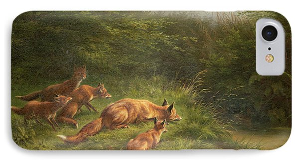 Foxes Waiting For The Prey   IPhone Case by Carl Friedrich Deiker