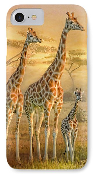 Giraffe Family IPhone Case by Trudi Simmonds