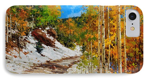 Golden Aspen Trees In Snow IPhone Case by Gary Kim
